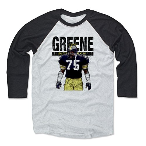 500 LEVEL Mean Joe Greene Baseball Tee Shirt XX-Large Black/Ash - Vintage Pittsburgh Football Raglan Shirt - Joe Greene Sketch K -