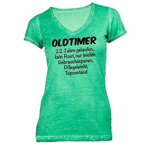 Monkiez Damen T-Shirt V-Ausschnitt - Oldtimer Geburtstag 22 Jahre - Birthday 22 years Fun Geschenkidee Grün 5I1Jy0IuEx