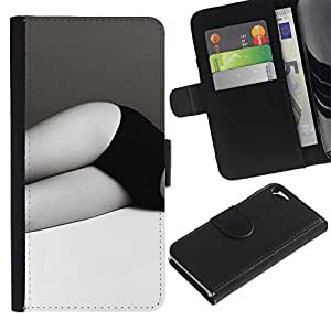 Billetera de Cuero Caso del tirón Titular de la tarjeta Carcasa Funda del zurriago para Apple Iphone 5 / 5S / Business Style Legs Black White Panties Woman