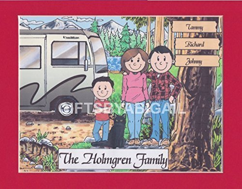 RV Camping Family Gift Personalized Custom Cartoon Print 8x10, 9x12 Magnet or Keychain