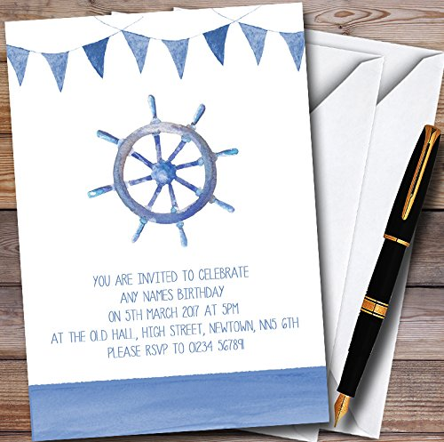 Blue Bunting Nautical Beach Personalized Childrens Party Invitations