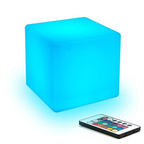 10cm Led Night Light for Kids Mood Light Cube with Remote Control - 8 Dimmable Brightness - 16 Adjustable RGB Colours - 4 Colour Changing Modes Bedside Lamp for Children / Baby Bedroom