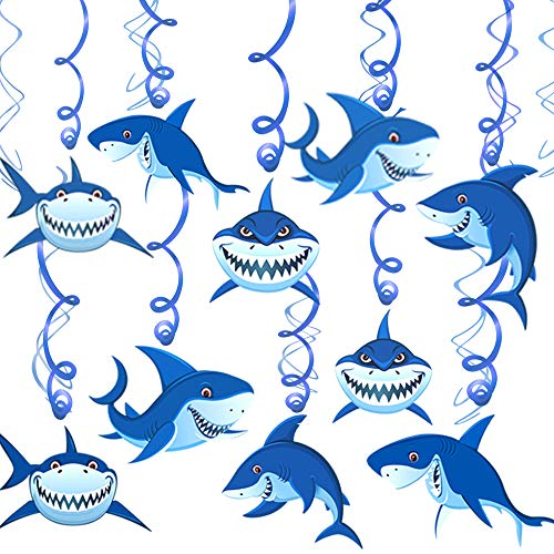 Konsait Shark Hanging Swirl Decoration Home Ceiling Wall Decor for Shark Sea Themed Splash Party Baby Shower Birthday Party Favor Supplies Decor for Boy Girls Kids (30Pack) -