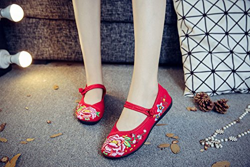 Casual Embroidery Shoes Womens Flat Red Mary Single AvaCostume Jane Z45Aw6xq
