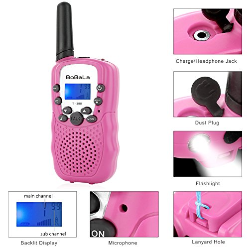 Bobela Cute Walkie-Talkies for Women Hiking - T-388 Portable Walky-Talky with Flashlight for Adults Girls Wakie-Talkies with FCC PTT Mic 22 Channels for Kids as Cool Personalized Gifts (Pink 2 Pack) by Bobela (Image #4)