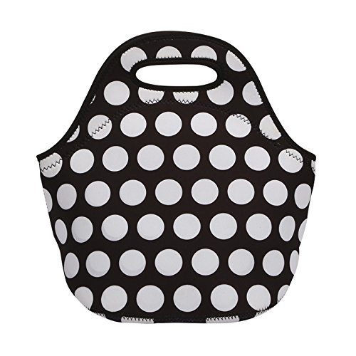 Insulated Neoprene Lunch Tote, EpicGadget Classic Durable Waterproof Reusable Picnic Lunch Bags Boxes (Black and White Polka Dot)