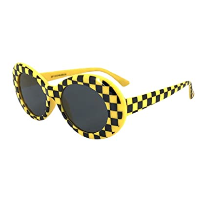 0a0cb9e28cfb Fheaven Unisex Retro Vintage Clout Goggles Sunglasses Rapper Oval Shades  Grunge Glasses (B)