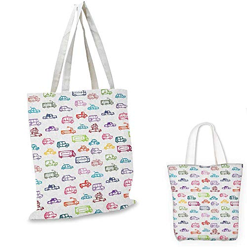 """Cars shopping bag storage pouch Various Types of Vehicles Bus Truck Garbage Truck Sports Car Vibrant Colored Design small tote shopping bag Multicolor. 15""""x15""""-11"""""""