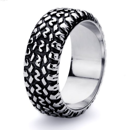 9MM Stainless Steel High Polish Oxidized Tire Ring (Size 8 to 15), 8