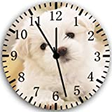 Cute Maltese Puppy Frameless Borderless Wall Clock W156 Nice For Gift or Room Wall Decor