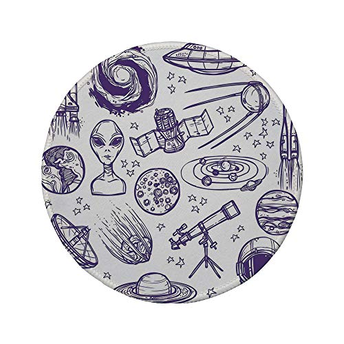 (Non-Slip Rubber Round Mouse Pad,Outer Space Decor,Minimalist Space Graphic Satellite Orbit Radar Saturn Telescope Space,Purple White,11.8