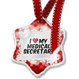 Christmas Ornament I heart love my Medical Secretary, red - Neonblond