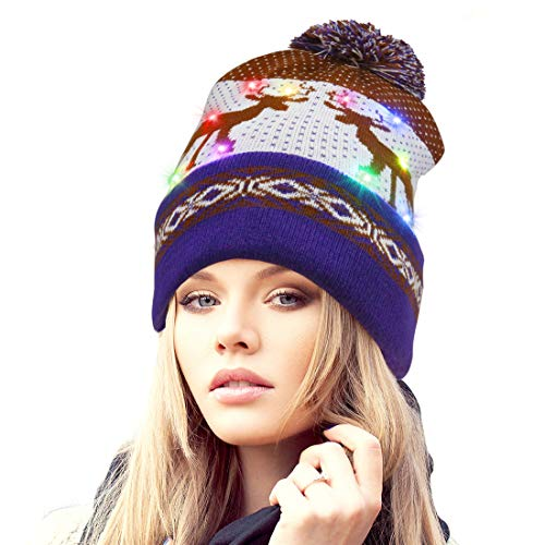 Rotus Novelties LED Light Up Santa Beanie Knit Cap with 10 Colorful Flashing LED, Thick Double Layer Christmas Beanie Hat with Reindeer Printing Party, Purple Brim