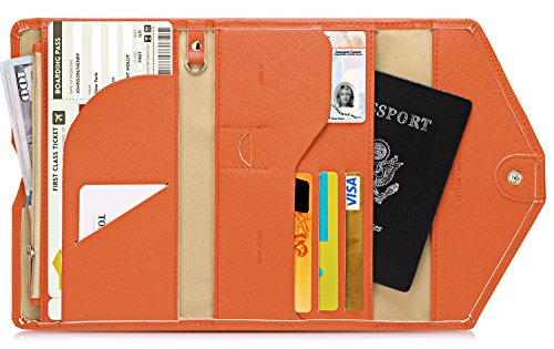 Lazoppent Envelope wallet Passport Holder Travel Wallet Tri-fold Document Organizer Passport Cover Case for ()