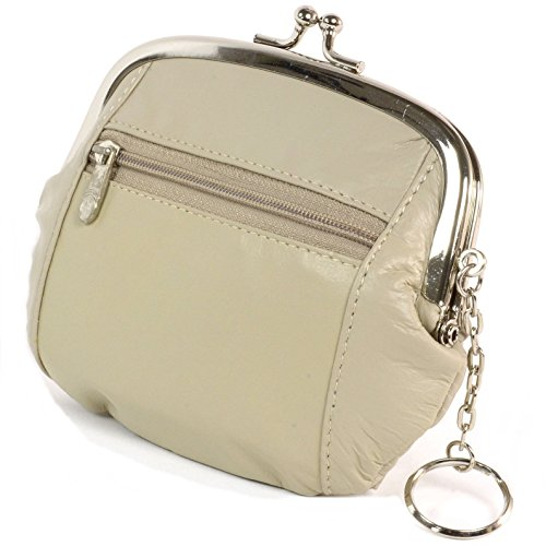 Womens Genuine Leather ID Windown Card Case Mini Wallet Coin Purse Cream