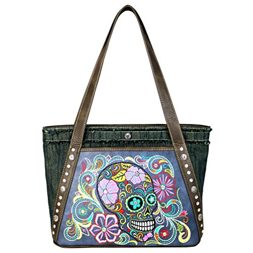Montana West Handbag Day of the Dead Halloween Sugar Skull Tote Purses MW601-8014 (Turquoise) Blue Tote With Skull