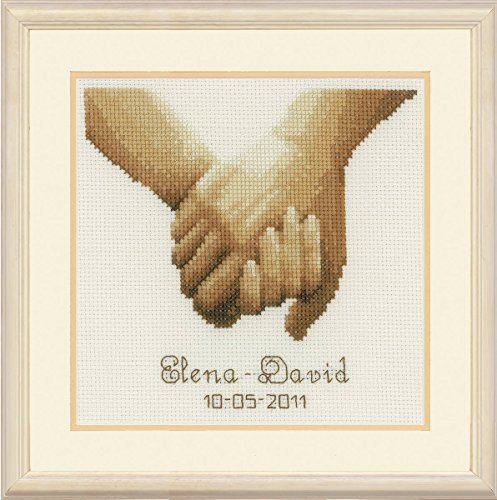 Vervaco Wedding Record Holding Hands Ecru Adia Counted Cross