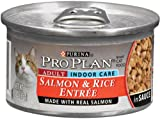 Purina Pro Plan Adult Cat Food (Indoor Care), Salmon and Rice Entrée, 3-Ounce Cans (Pack of 24), My Pet Supplies
