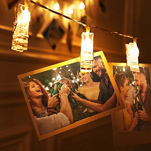 Arespark Photo String Lights, 20 LED Photo Clips String Lights for Wedding, Party, Christmas, Home Decoration Lights, Hanging Photos, Cards and Artwork - Warm White