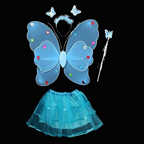 4 Pcs Wings Wand Set for Baby Girls Dress up Birthday Halloween Party Favor Gift (Blue) (Halloween Costume Winners)