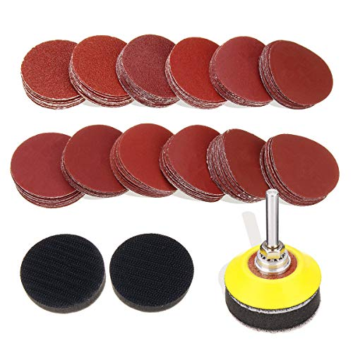 (DRILLPRO 120pcs 2 Inch Sanding Discs Pad with 1/4'' Shank Backer Plate and 2pcs Sponge Cushions for Drill Grinder Rotary Tools 60-3000 Grit Sandpapers)