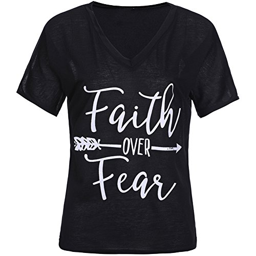 ZZhong Women's Faith Over Fear Arrow Letter Print T Shirt Casual V Neck Tees Black L (V-neck T-shirt Arrow)
