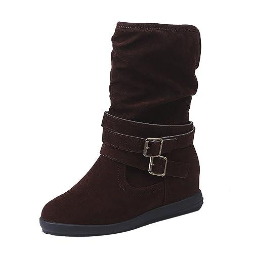 Ansenesna Stiefel Damen gefüttert Schwarz Winter Schuhe Flach Veloursleder  Warm Elegant Stiefeletten Mode Freizeit Für Frauen ed7877b4f4