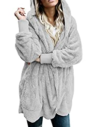 Womens Fuzzy Open Front Hooded Cardigan Jacket Coat Outwear With Pocket