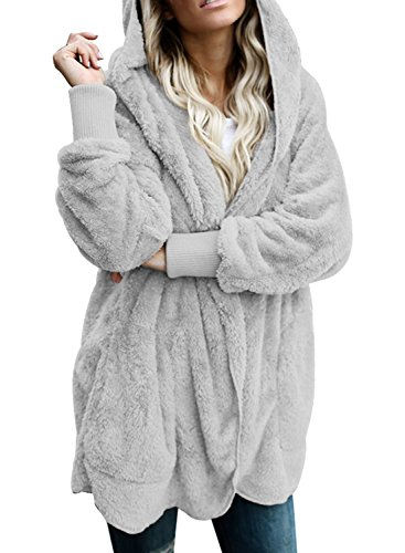 Dokotoo Womens Cozy Ladies Oversized Fuzzy Fluffy Sherpa Winter Faux Fur Open Front Long Sleeve Fleece Hoodies Cardigan Sweater Jacket Coat Outwear Grey XX-Large
