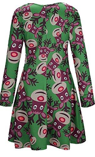 Stampato Verde Casual Natale Di Oscillare Tunica Top Vestito Comodi La Donne Moda Ha UnPZZ0