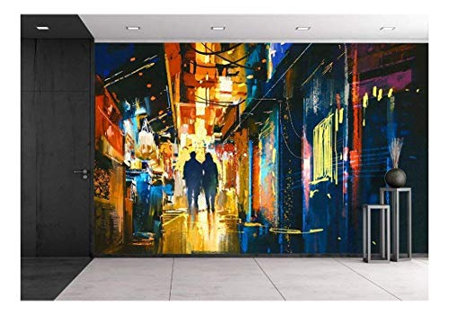 Couple Walking in Alley with Colorful Lights Digital Painting