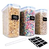 Cereal Container with Lids - 3 Piece Airtight Food Storage Containers with 16 Free Labels & 1 Marker Set - BPA Free Plastic Dispenser Perfect for Flour, Rice, Sugar etc (16.9 Cup 135.2oz) - FOOYOO
