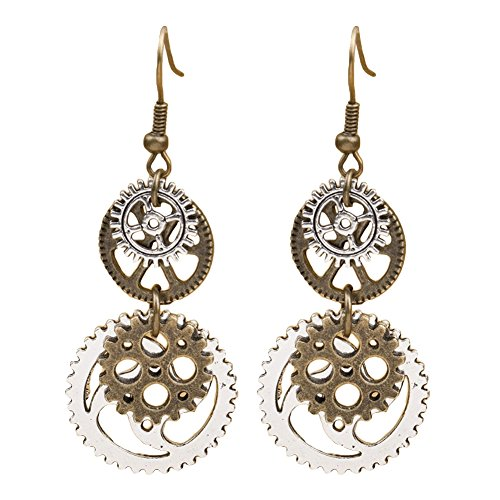 Fengzhicai Women Steampunk Antique Gear Pendant Long Dangle Hook Earrings Jewelry