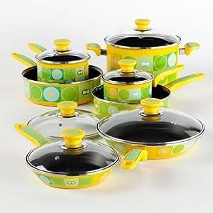 13 piece enamel cookware set kitchen dining for Naaptol kitchen set 70 pieces