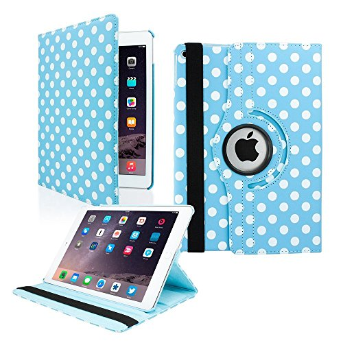 360 Premium Rotating Leather Case Cover Light Blue Polka Dots with Kickstand by KIQ with Kickstand for Apple iPad Air 1 1st Gen 9.7-inch Retina Display 2013 2014 (A1474, A1475, A1476) - Blue Dot Display