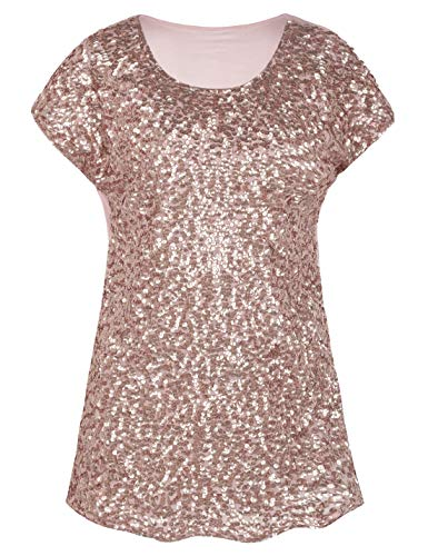 (PrettyGuide Women's Evening Tops Sparkle Shimmer Glam Sequin Blouse Rose Gold XL/US18-20)