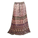 Womens Gypsy Maxi Skirt Printed Broomstick Summer Gauze Skirts S/M