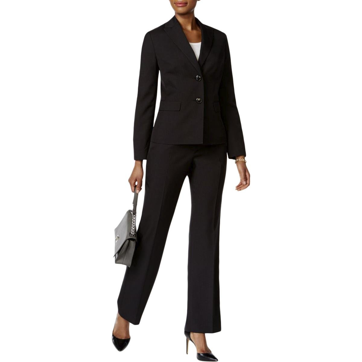 Le Suit Women's 2 Button Pant Suit, Black, 6