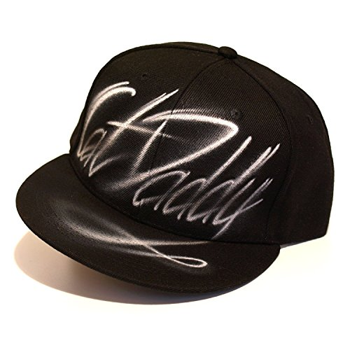 Custom text Snapback hat, graffiti airbrushed, one size fits all, black flat peaked cap, Cat ()