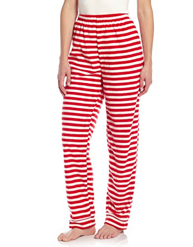 Leveret Women Fleece Sleep Pants Red & White Striped Small -