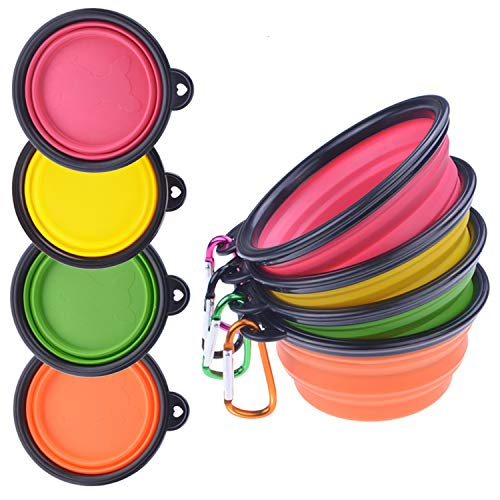 Water Portable Dish (PetBonus 4-Pack Silicone Collapsible Dog Bowls, BPA Free and Dishwasher Safe, Portable and Foldable Travel Bowls-with 4-Color Carabiners Per Set)