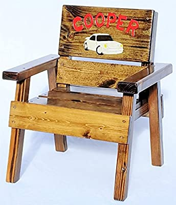 Kids Wood Chair with Arms - Personalized Gift - Engraved and Painted Porsche