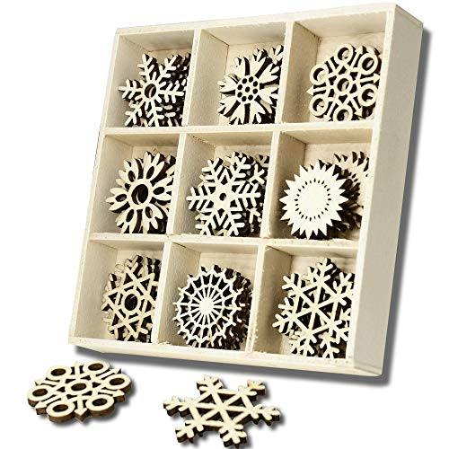 YuQi 45 PCS Wooden Festive Scrapbooking Embellishments Sets with Storage Box, Mini Laser Cuts Wood Shapes, Wooden Crystal Snowflakes Ornaments for Craft Projects and Present Wrap Tags