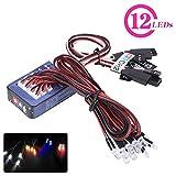 RC Car Light Kit, 12 LED RC Lighting System Simulation Flashing Lights Bar Tamiya for 1/10 1/8 RC Car / Truck / Crawler