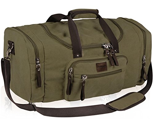 Travel Bag Khaki Canvas Duffle Bag Weekend Large Gym Sports storage bag