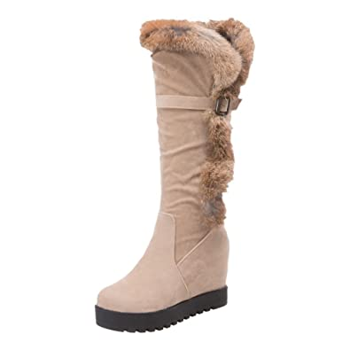 Women's Hideen Wedges Heel Mid Calf Winter Snow Boots