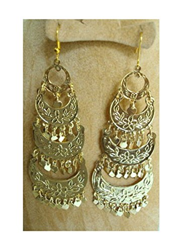 (Tribal Metal Belly Dance Earrings Dancing Dangle Coins beads Egypt Jewelry Gypsy (GOLD) 110)
