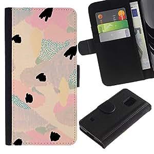 For Samsung Galaxy S5 V SM-G900,S-type® Watercolor Pastel Tone Colors Teal Pink - Dibujo PU billetera de cuero Funda Case Caso de la piel de la bolsa protectora