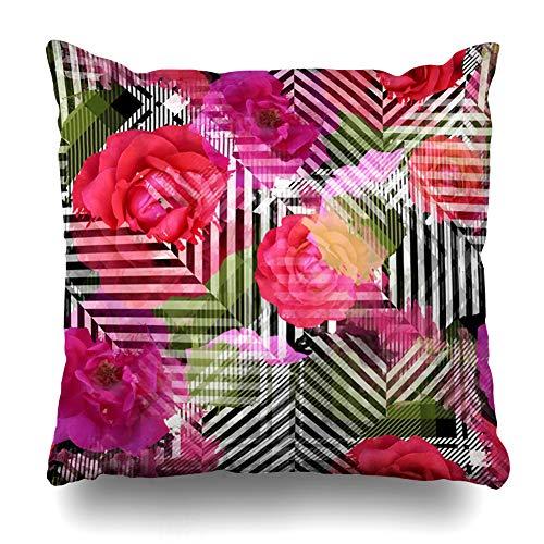 "Ahawoso Throw Pillow Cover Kilt Watercolor Floral Tartan Creative Pattern Spot Flower Line Plaid British Celtic Design Decorative Cushion Case Square 18"" x 18"" Inches Home Decor Pillowcase"