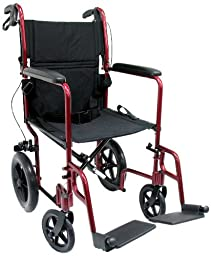 Karman Healthcare LT-1000HB-BD Folding Aluminum Transport Chair with Companion Brakes, Burgundy, 19 Inches Seat Width